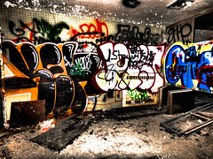 After Life (DirtyBootPrints) Tags: color pop graffiti modern art urbex abandoned love nature wild explore adventure free discover man human spray paint morgue new old ny colorful bright vibrant alive death decay destruction inside glow shine