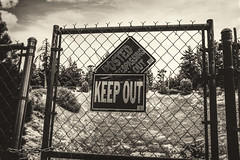 Big Bear Mountain Keep Out (J.B.M. Photographer) Tags: bigbearmountain mountain bigbear sepia fujix100t fujix keepout donotenter notrespassing