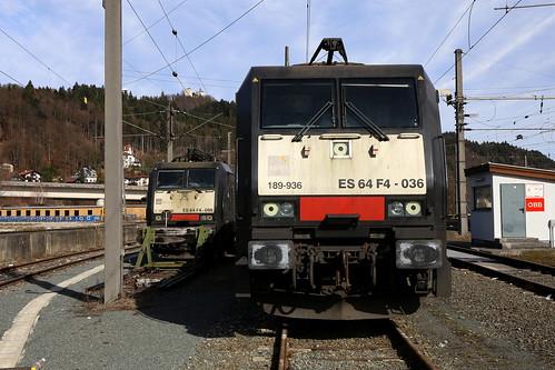 TXL ES 64 F4-098 und ES 64 F4-036, Kufstein