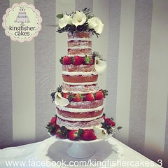 Photo of Another of my cakes from the weekend, this is the wedding cake from the weekend, another Naked Wedding Cake , this is it all set up at the venue the Grovesnor Pulford Hotel and Spa, placed on my white pedestal stand and decorated with strawberries and whi