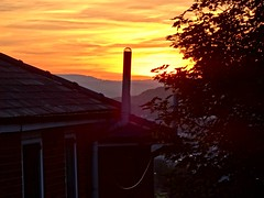Sunset over Sheffield (jayneyyy) Tags: trees roof sunset summer sky orange sun house tree rooftop beautiful beauty silhouette skyline clouds pretty sheffield yorkshire treetop southyorkshire