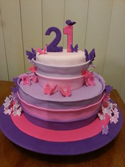 Pink and purple ombre butterfly cake (Get Your Cake On WA) Tags: pink girls butterfly purple 21 21st butterflies ombre layer frill cakefondant