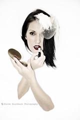Lipstick (missjojo101) Tags: portrait color colour face lady female vintage studio model nikon photoshoot head makeup portraiture redlips lipstick concept brunette conceptual hairpiece headpiece fascinator