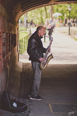 Street Artist (-gunjan) Tags: nyc newyorkcity music usa newyork man america us artist unitedstates centralpark unitedstatesofamerica strangers streetphotography stranger busker saxophone