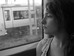 Train Journey (crystal.march) Tags: light shadow england blackandwhite white eye window train grey eyes sara thought shadows sad dress empty relaxing deep trains journey thinking confused relaxed past confusion