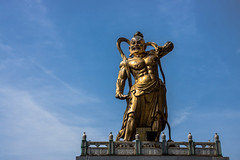 Demon or Guardian (Pauls-Pictures) Tags: street blue sky urban statue lens temple photography gold site buddha buddhist sony religion guard chinese 7 australia buddhism georgetown holy malaysia sacred demon warrior kit penang alpha brass 18200 guardian relic nex streetphotograhy religiious sonynex7 sonyalphanex7 alphasonynex7 sitepenang keklocsetemple