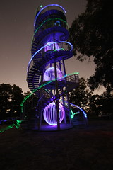 Light painting the DNA tower , Perth WA (Shazaad Jassat) Tags: park light motion blur tower wool night canon painting photography long exposure steel creative trails led kings perth 7d rails dna shooting mad 1020mm orbs ideas