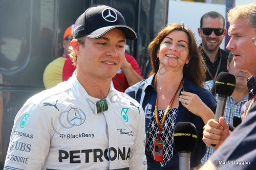 Nico Rosberg is interviewed by the BBC's Suzi Perry and David Coulthard after qualifying for the 2014 German Grand Prix