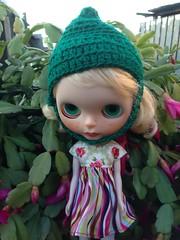 Singrid wearing a pixie crocheted helmet