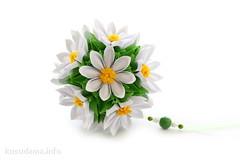 Flower kusudama (ronatka) Tags: kusudama withbeads green white yellow square flowersorigami