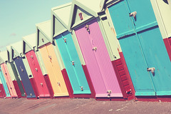 Beach Huts, Brighton & Hove, England (emski_m) Tags: sea england house color colour beach home sussex wooden seaside cabin brighton box timber pastel hove small resort east huts hut pastels boxes bathing seafront coloured brightly