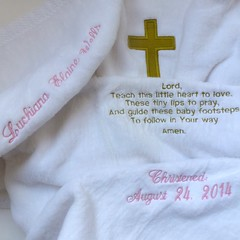 Egyptian Cotton Baby Blanket with Christening Embroidery (initial_impressions) Tags: embroidered personalized cribblanket goldcross christeningblanket baptismblanket egyptiancottonbabyblanket prayerembroidery extraembroidery