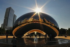 Blingy Bean (Explored!) (Seth Oliver Photographic Art) Tags: chicago illinois nikon midwest cityscape cities skylines milleniumpark theloop cloudgate thebean pinoy urbanscape chicagoskyline chicagoist d90 setholiver1 8mm28rokinonfisheyelens