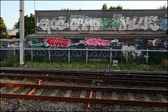 Spoe, Camo, Peso, Klue, B6K, Onme... (Alex Ellison) Tags: urban graffiti boobs klue railway ab line camo kc graff lb pbs peso trackside on sfl northwestlondon onme onm spoe b6k