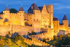 The Goden Citadel (Loc Lagarde) Tags: longexposure france castle heritage monument architecture night citadel unesco bluehour chateau nuit carcassonne languedoc goldenhour cathares canoneos5dmarkiii