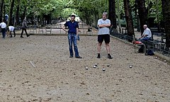 Petanque Game 2 - Version 2 (Barbara L. Slavin) Tags: france geotagged august barge petanque photostream iphone jardinduluxembourg 2014 iphoneography france2014