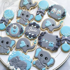 Elephant Babyshower2 (cREEative_Cookies) Tags: baby shower babyshower cookies harry potter elephant chic birds mason jar lace delicate flower sports its boy girl blessed baptism crib teddy bear kokeshi dolls sunshine clouds happy flowers girly boyish sugar edible art theme custom royal icing baked adorable roses daisies fondant booties shoes onesies bibs personalized sugarveil
