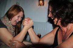 2014-060186E (bubbahop) Tags: friends bar disco island greece crew day4 armwrestling mykonos 2014 gvss skandinavian sailinggreece gadventures europetrip30 santorinitosantorini