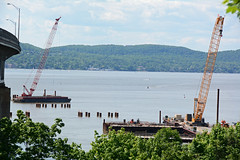 Picture Of The Construction Phase Of The New Tappan Zee Bridge. Since October 2013, Permanent Piles Are Being Vibrated And Then Pounded In Place Into The Bottom Of The Hudson River To Begin Forming The Bridges Foundation - 052514 (ses7) Tags: new construction zee tappan phase bridgeny
