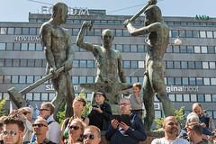 Helsinki Pride 2014 (3) (pni) Tags: street boy people sculpture woman man male window lamp statue wall female suomi finland person march kid helsinki wire child head being pride line human helsingfors 2014 threesmiths skrubu pni kolmesepp pekkanikrus