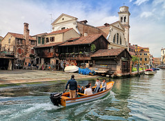 On a mission in Venice (Randy Durrum) Tags: venice italy church water canon eos boat canal m repair motor motorboat durrum