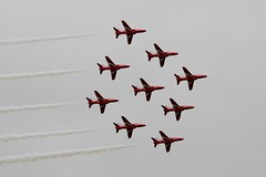 Red Arrows (G Gibson) Tags: red army team apache memorial day force display britain stirling aircraft air flight navy attack royal battle helicopter v eurofighter lancaster arrows spitfire caravan tp dday markings falcons cessna typhoon forces parachute armed seaking 208 2014 supermarine pa474 mk356 za130 gdlaa zk308