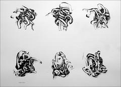 Decalcomania monoprint. 2010. (Dave Whatt) Tags: blackandwhite art monoprint surrealism wiggly x printing 12 fineartprint writhing squirming onpaper16