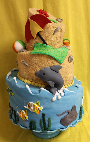 Beach Topsy Turvy Cake