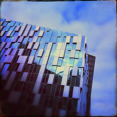 5 Merchant Square (firstnameunknown) Tags: camera london glass architecture modern clouds reflections canal vibrant clarity basin paddington waterside grandjunctioncanal iphoneography sussexfilm hipstamatic 5merchantsquare chivaslens mossessian