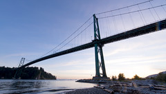 Lions Gate Bridge 2014 (Gord McKenna) Tags: ocean bridge sunset canada english beach vancouver bay highway gate bc pacific north engineering columbia civil lions inlet british burrard gord gravel mckenna gordmckenna