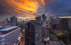 Blaze (bing dun (nitewalk)) Tags: sunset panorama night evening singapore orchard gateway tiltshift