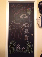 The Birthday Door (Perfectance) Tags: birthday door black art coffee chalk paint drawing board cupcake draw chalkboard