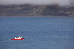 """Small"" vessel (Roman_P2013) Tags: ocean blue red sea white lake norway clouds boat ship view vessel svalbard fiord longyearbyen"