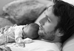 Family (jayneboo) Tags: family bw baby girl daddy mono dad close babygirl future norah odc candidportrait