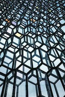 Harpa concert hall geometric shaped glass