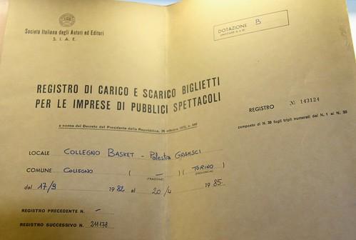 Registro SIAE Biglietti Partite Collegno Basket 1982