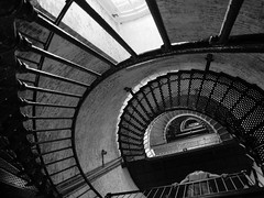 Currituck Lighthouse (Brennan Wille) Tags: summer vacation blackandwhite bw lighthouse brick beach metal stairs spiral nc high perspective july northcarolina indoor staircase tall railing outerbanks corolla obx currituck 2014