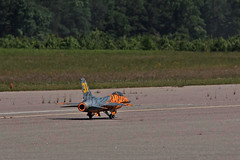 First in Flight RC Jet Rally 2014 - F-16 Falcon on Afterburner (John. Romero) Tags: radio plane canon airplane photography fly flying photo nc airport control aircraft aviation air rally flight jet first hobby airshow planes carolina wilson remote tamron rc flyin