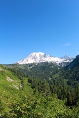 View of Mount Rainier in clear day (daveynin) Tags: morning blue sky mountain lake water nps clear mount rainier deaftalent deafoutsidetalent deafoutdoortalent