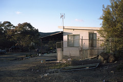 Eagle Hawk,  NSW, 2014 (jamiehladky) Tags: light abandoned 120 film sunrise fence dawn kodak australia aerial explore nsw 6x9 canberra shack quarry sutton portra160 gw690 kodk eaglehawk fuji6x9 inexplore jamiehladky hladky