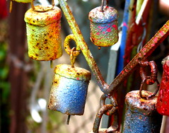 Our Garden Bells (Renee Rendler-Kaplan) Tags: metal bells canon garden backyard colorful mine gbrearview painted rusty september musical hanging weathered decor crusty yardart gapersblock wbez alot 2014 chicagoist yearround tinkly reneerendlerkaplan canonpowershotsx40hs ourgardenbells okayours yesidolovespraypaint