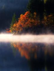 Loch Ard narrows (J McSporran) Tags: morning mist reflection reflections scotland october calm trossachs ard morningmist lochard octobermorning