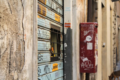 Cash Machine (Mona - B) Tags: life street old urban italy rome art canon closed tag machine cash atm destroyed