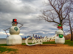 a_chance_of_snow (gerhil) Tags: landscape urban cityscape water lake clouds storm weather snowman inflatable sign park scenic view outdoor winter march2017 nikcolorefexpro4 whimsical