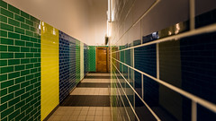 To The Gents (Sean Batten) Tags: mathematics sciencemuseum wintongallery london england unitedkingdom gb green yellow blue tiles nikon d800 1424 reflection museum gents toilets