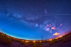 International Space Station (inlightful) Tags: astronomy astrophotography astrolandscape space spacestation satellite iss spotthestation milkyway stars starrynight sky night nightsky outdoors nature clouds weather morning sunrise dawn rural southwest newmexico socorrocounty powerpoles powerlines timestack
