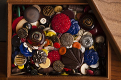 Multicolored assortment of old buttons in a box (Jim Corwin's PhotoStream) Tags: abstractbackgrounds abundance apparel backgrounds brightcolors button buttons choice closeup clothing color colorful colors concept crafts creativity detail embroidery groupofobjects horizontal jumbled largegroupofobjects manufacture manufacturedobjects material mix mixed multicolored nobody objects old oldfashioned photograph photography randompatterns repairing retrostyle sewingitems stilllife tailor textileindustry used variation variety