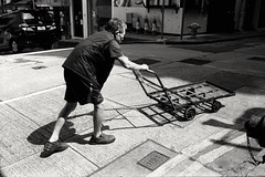 (David Davidoff) Tags: street people hardlife oldman trolley garbagepicker monochrome moment lightshadow