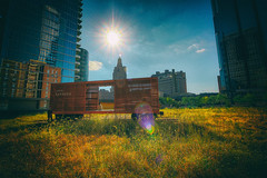 Local Express (KC Mike D.) Tags: car train blaze sun afternoon grass field park public rooftop trees building reflection downtown space hidden ladies express local