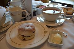 Tea and Scones (Vintage Alexandra) Tags: ocean travel cruise sea food english ship tea beverage maritime scones qm2 cunard transatlantic oceanliner northatlantic